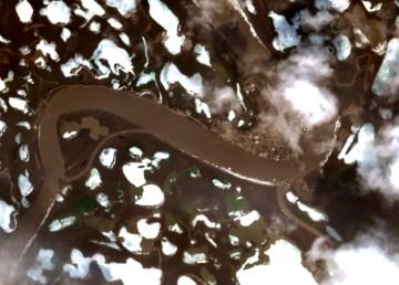 A satellite image shows Aklavik on May 28, 2021.