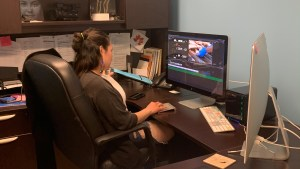 Shiense Cockney editing the Beluga Harvest Youth Project documentary