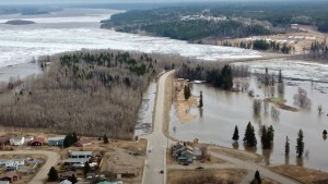 Flooding surrounds the causeway in Fort Simpson on May 9, 2021