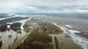 Floodwater surrounds Fort Simpson's island on May 9, 2021