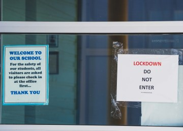 Signs at Yellowknife's NJ Macpherson School on May 3, 2021