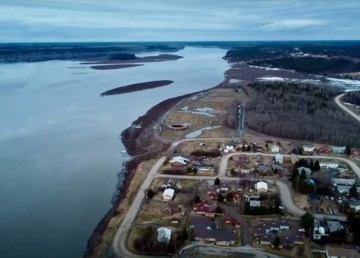 Fort Simpson's papal grounds are seen in the aftermath of flooding in May 2021.