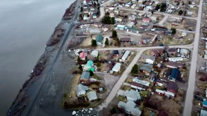 An aerial view shows the aftermath of flooding in Fort Simpson in May 2021