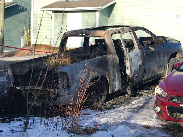 The aftermath of a May 7, 2021 vehicle fire on Yellowknife's Ptarmigan Road