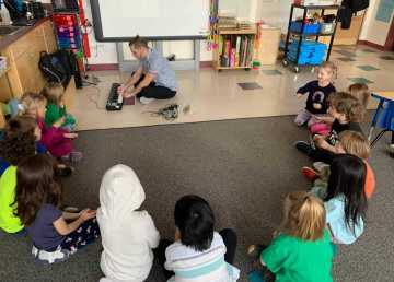 Pierre Cook, music teacher at École Boréale in Hay River, plays for his students