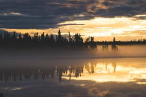Fog on Great Slave Lake in June 2021