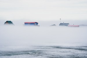 Houseboats in the mist in June 2021