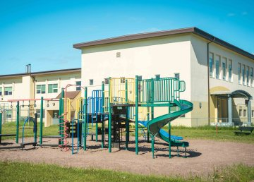 A file photo of Joseph B Tyrrell Elementary School in Fort Smith in June 2021. Sarah Pruys/Cabin Radio