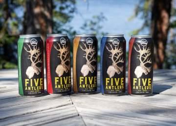 Five Antlers beer cans