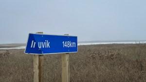Inuvik road sign. Luisa Esteban/ Cabin Radio.
