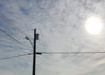A transmission line in Fort Providence in April 2021