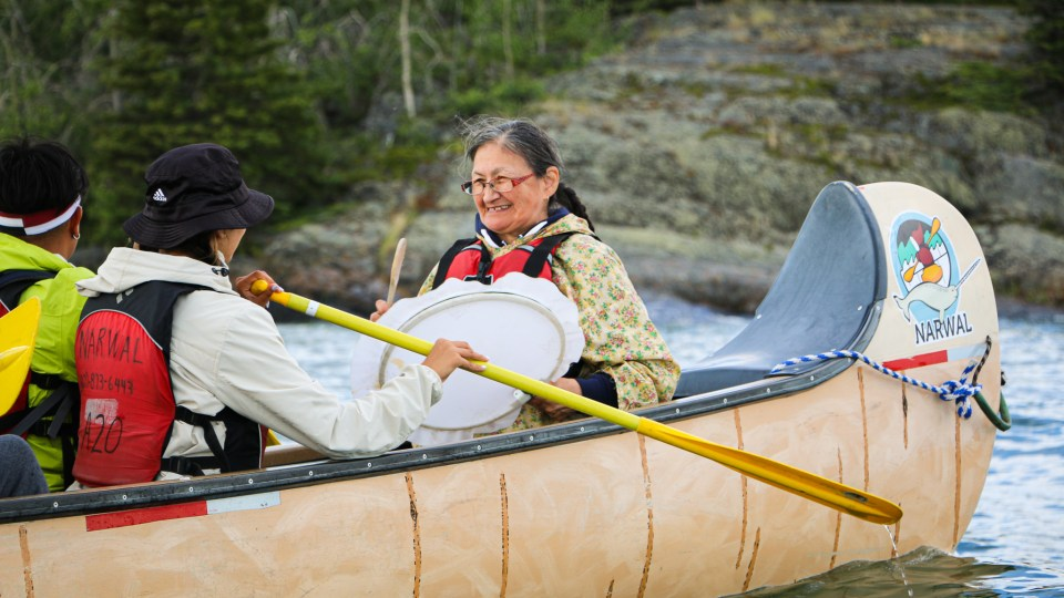 Beatrice Bernhardt on the Intergenerational Voyageur Canoe Tour. Luisa Esteban/ Cabin Radio.