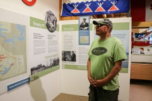 John B Zoe at a Treaty 11 exhibit inside Yellowknife's Prince of Wales Northern Heritage Centre