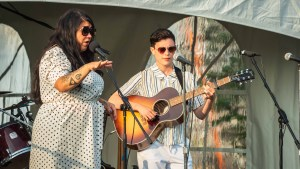 Celeigh Cardinal and Joseé Caron perform at Tuesday's Emerging Wildly event