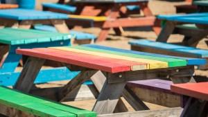 Multi-coloured picnic tables at Folk on the Rocks. Sarah Pruys/ Cabin Radio.
