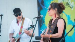 Laurie Sarkadi performing at Folk on the Rocks 2021. Sarah Pruys/ Cabin Radio.