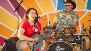 Leela Gilday performing at Folk on the Rocks 2021. Sarah Pruys/ Cabin Radio.