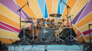 Drum set on the main stage of Folk on the Rocks 2021. Sarah Pruys/ Cabin Radio.