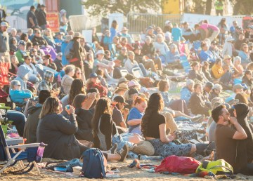 Audience at the main stage at Folk on the Rocks 2021. Sarah Pruys/ Cabin Radio.