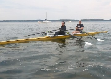 The Somba K'e Paddling Club's rowing double, named Tim Storm, on the water