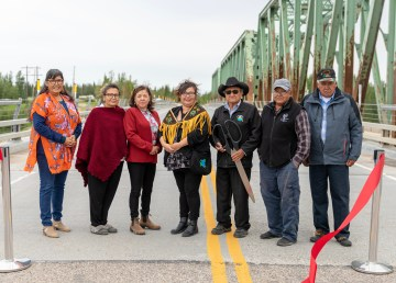 The NWT government and Kátł'odeeche First Nation celebrated the opening of the Kátł'odeh Bridge with a ribbon-cutting ceremony
