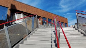 Steps at Yellowknife City Hall in August 2021