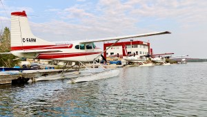 Float planes outside the Air Tindi floatbase in August 2021