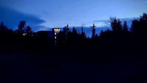 Yellowknife's Chateau Nova hotel is seen at night in August 2021