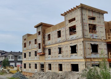 An under-construction housing project in Yellowknife is pictured in August 2021