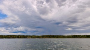 Storm clouds over Yellowknife Bay in August 2021