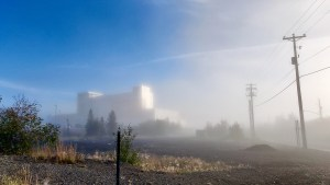 Yellowknife's Stanton Territorial Hospital is seen through fog on the morning of August 31, 2021