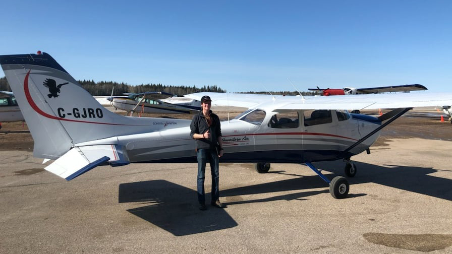 SaNaeah Allen stands in front of a Northwestern Air Lease's Cessna 172. Photo: Terry Harrold School of Aviation