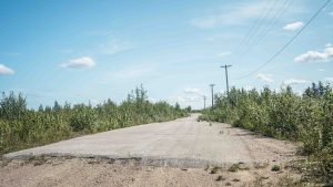 The former townsite of Pine Point in July 2021. Sarah Pruys/Cabin Radio