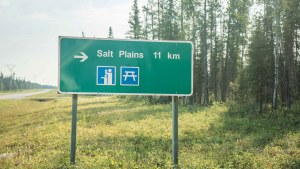 A sign pointing to the Salt Plains in Wood Buffalo National Park in August 2021. Sarah Pruys/Cabin Radio