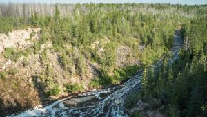 The Little Buffalo River seen from the Little Buffalo River Falls Territorial Park in August 2021. Sarah Pruys/Cabin Radio