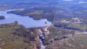 A GNWT environmental inspector's image of the Taltson hydro dam in July 2021