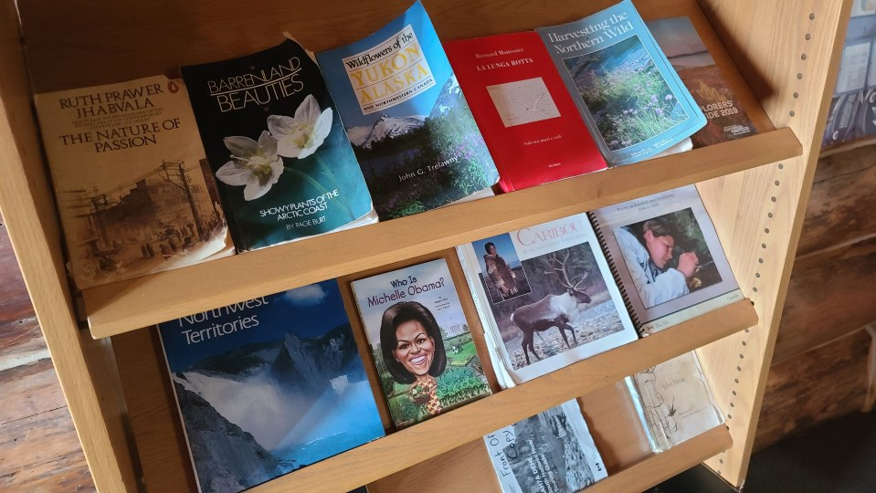 Books on offer at Blackstone Territorial Park's visitor centre in August 2020