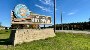 A sign welcomes people to Hay River