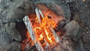 A campfire at Pickerel Lake in September 2021. Sarah Pruys/Cabin Radio