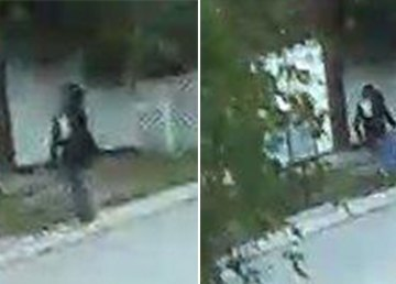 Two RCMP handout images highlight a figure who appears in the corner of security camera footage on the night of a suspicious fire at a Yellowknife church