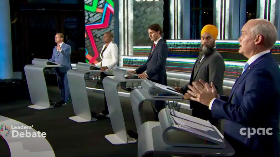 Federal party leaders during a televised debate on September 9, 2021