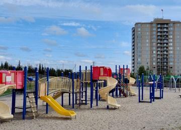 A playground outside Weledeh Catholic School