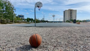 A basketball court in downtown Yellowknife