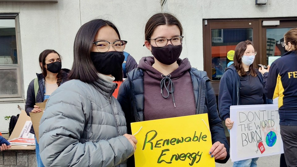 Yellowknife students Pretty Ngo, left, and Cassie Rogers at a September 2021 climate protest