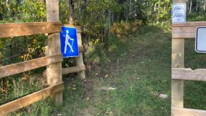 Posts at a trailhead on Smith's Landing First Nation were sawed off in September 2021. Photo: Smith's Landing First Nation/Facebook
