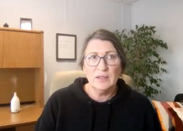 Tammy Roberts, executive director of the Foster Family Coalition, conducts a Zoom interview in September 2021