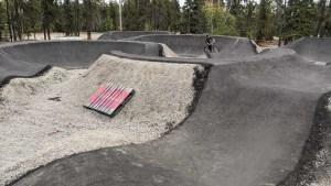 The Yellowknife Mountain Bike Club's pump track in September 2021. Sarah Pruys/Cabin Radio