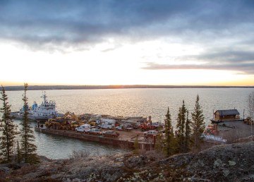 Freight barges dock in Yellowknife on October 14, 2021
