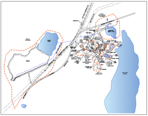 A GNWT map shows the Ingraham Trail bisecting the Ptarmigan mine and one of its tailings ponds